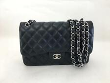 Authentic Chanel Classic Jumbo Dark Blue Caviar Leather Double Flap Bag SHW