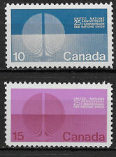 CANADA , UN , 1970 , 25TH ANNIV. UNITED NATIONS , SET OF 2 STAMPS , PERF , MNH