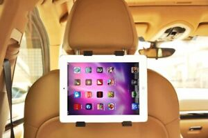"""Tablet Car Holder Back Seat Headrest For All iPads (7"""" To 11"""") & Charging Cable"""