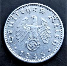 1943 WW2 Germania nazista moneta da 50 REICHSPFENNIG * A * BERLINO HITLER era un buon livello/41