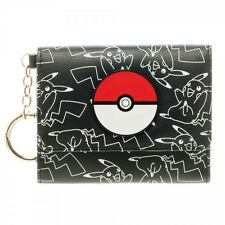 POKEMON POKEBALL PIKACHU TRIFOLD KEY CHAIN WALLET PHOTO ID HOLDER SILVER RING