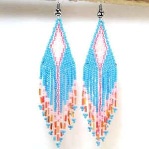 NEW BLUE PINK HANDCRAFTED SEED BEADED FASHION HOOK EARRINGS E14/23