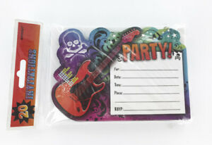 Rock Star Guitar Birthday Invitations - 20/Pack - Postcard Style - Kids Party