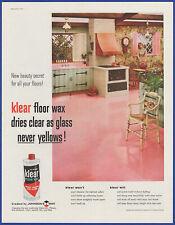 Vintage 1959 Johnson's KLEAR Floor Wax Ephemera 50's Print Ad