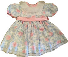 Quality Girls Floral Vintage Party Dress Lace trim Collar 3T Flower Made In USA