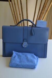 Smythson Grosvenor Slim Luxurious grain Leather Briefcase Nile Blue  £1195 NEW