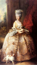 PORTRAIT OF QUEEN CHARLOTTE PAINTING BY THOMAS GAINSBOROUGH ON PAPER REPRO SMALL
