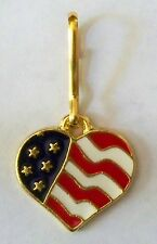 US Flag heart zipper pull, gold plate, made in America!