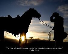Religious Motivational Poster Art Horse Riding Cowboy Boots Psalm121:8 RELG18