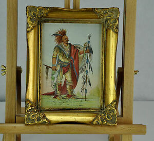 American Indian. Hand colored print. Framed.
