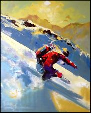 "Malcolm Farley ""Back Country Snow""ski Hand Signed Giclee on Canvas Make an Offer"