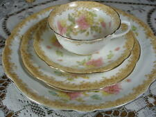 STAFFORDSHIRE FANCY MOULDED TEA CUP AND SAUCER TRIO HP  FLORAL RICHLY TRIMMED