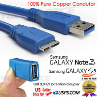 SuperSpeed USB 3.0 to Micro Cable 10FT For Galaxy Note + USB 3.0 Female Coupler