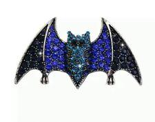 Bat Brooch Blue Black Crystal Rhinestone Vintage Silver Metal Brooch Pin 625