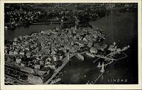 Lindau im Bodensee alte s/w Ansichtskarte 1950 Gesamtansicht mit Hafen Luftbild