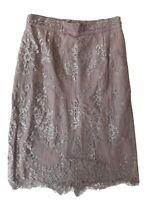 L.K. Bennett S K Essie Women's Beige Lace Pencil Skirt. Size UK 6, EU 34, US 2.