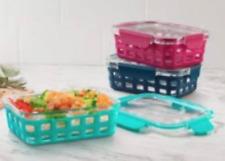 Ello NWT 6pc Meal Prep Food Storage Set Dura-Glass With Silicon Protection ❤SC