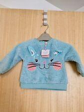 Girls Bnwt M&Co Blue Bunny Rabbit Print Fleece Jumper Top Size 6-9 Months