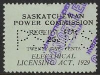 Perfin P18-PS (Province of Saskatchewan): Van Dam SE6, 25c Electrical Inspection