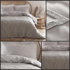 Appletree Bedding Chevron Tuft 100% Cotton Soft Luxurious Silver Duvet Cover Set