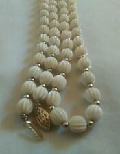 """Vintage White Ribbed Bead Gold Tone Necklace Filigree Clasp 28"""""""