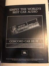 1986 Concord Car Hi Fi Stereo Print AD vintage Automobilia advert JBL
