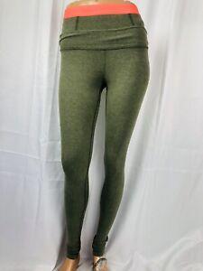 LULULEMON size 2 green full length leggings neon  pink waist band