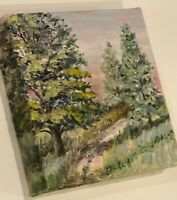 Original Oil Landscape Painting Canvas Evergreens Spruce Pine Road Black Hills