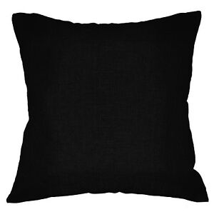 Qh23a Black Thick Linen Cotton Blend Style Cushion Cover/Pillow Case Custom Size