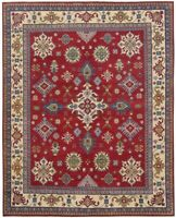 8'x10' Super Kazak Geometric Hand-Knotted Vegetable Dye Area Rug Oriental Carpet