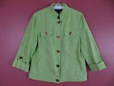 cj0312- NUEVO Jones YORK MUJER 100% Chaqueta de lino verde dorado Botón Talla G