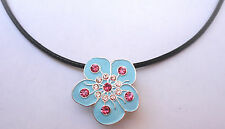 Necklace with Crystal Blue Flower Ball Marker & Magnetic Heart Clip