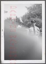 Unusual Vintage Photo Finger Bomb Mistake Army Man in Service Hat 705101