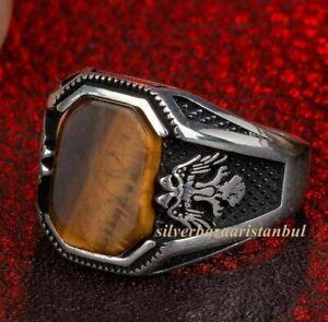 Animal Silver Men Ring, Brown Tiger Eye Gemstone Silver, 925K  Two Hawk Motif