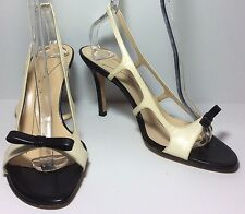 Nearly New Kate Spade B & W Italian Leather Slingback Bow Sandals Size 9 EUC