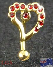 1 GOLD PL EYEBROW Eye Brow Bar Ring Stud HEART w/ RED Jewelled Gems Czs