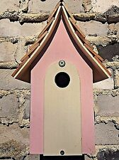 Country Cottage Nesting Box For Wild Birds, Pink House, Perfect for Garden/Gift