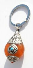 Tibetan Capped Honey Orange Amber Good Luck Charm Keyring Gift Boxed