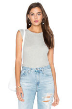ENZA COSTA Sleeveless Cashmere Fitted Crew Muscle Tank Top Tee Light Grey M $154