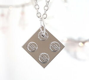 Chrome Silver Square Necklace made with LEGO Bricks chain pendant charm plated