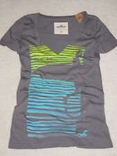 NWT Hollister Abercrombie Surf Retro Grey V-Neck Graphic Tee Shirt X-Small XS