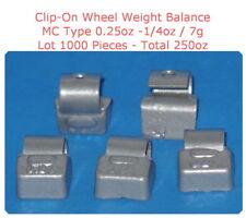 1000 Pcs ZN CLIP-ON Wheel Weight Balance MC Type 0.25oz 1/4oz  7g Total 250.00oz