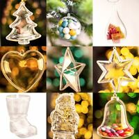 Christmas Decorations Tree Ornaments Fillable Empty Clear Plastic Baubles