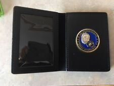 Nice leather challenge coin badge & ID case