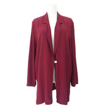 Wine red double PURE SILK long sleeves women summer shirt blouse M/L Y701110