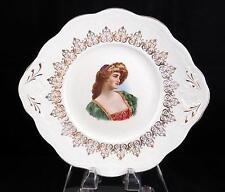 "GERMAN VIENNA SIGNED NOBLE WOMAN PORTRAIT 11"" CAKE PLATE 1880-1930"