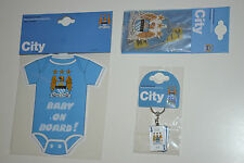 3 x SET MANCHESTER CITY CAR ACCESORIES-BABY ON BOARD-CARD KEYRING-AIR FRESHENERS