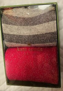 KATE SPADE NEW In Box 2 Pairs Crew Socks Gray & Pink Glitter Sparkly & Beautiful