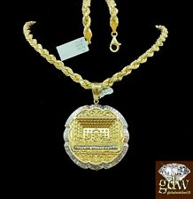 Real 10k Yellow Gold Men's Last Supper Charm/Pendant with Rope Chain,Jesus,Angel