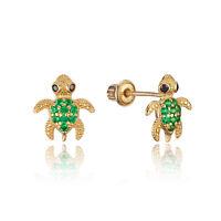 14k Yellow Gold Green Baby  Turtle Stud Children Screwback Girls Earrings